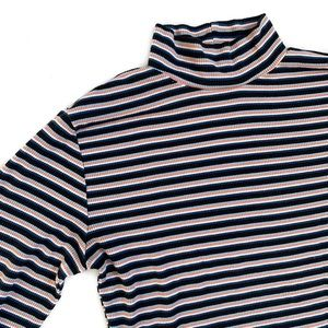 Ribbed Striped Mock Neck Shirt